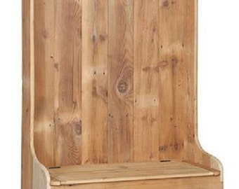"""Reclaimed Barn Wood Hall Tree Coat Rack With Cubby Storage Bench -  Pine Wood  - Unfinished- 43""""Wx21""""Dx72""""H"""