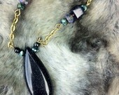 Blue goldstone necklace, blue sandstone necklace, gemstone pendant necklace, sparkly blue, antique gold chain, vintage style