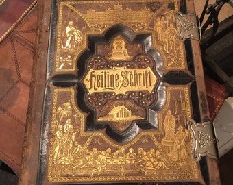 Antique German Family Bible, Silver Bindings, Leather Bound