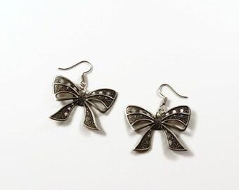 Antique Silver Bow Earrings