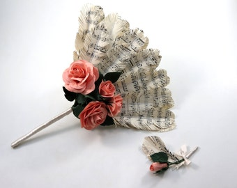 Wedding Sheet Music Feather Fan Bouquet with Pink Salmon Roses
