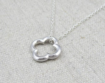 Silver clover necklace, sterling silver chain, everyday jewelry, layering necklace, medieval jewelry, clover charm necklace, gift for her