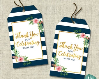 Floral Bridal Shower Printable Thank You Tags / Bridal Shower Favour Tags / Gold Thank You Tags Printable / Wedding Shower Favors / Navy