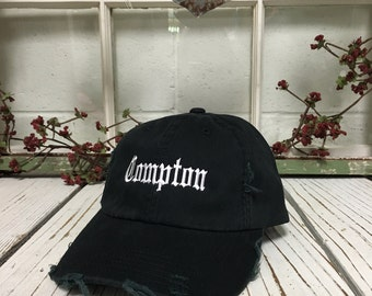 COMPTON Distressed Baseball Cap Low Profile Dad Hats Baseball Hat Embroidery Black w/ White Thread