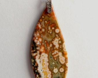 Ocean jasper silver pendant handmade polishing