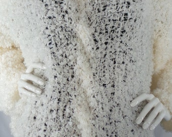 White Blouse,  Knitted, Finest Wool, Boucle yarn, White, Luxury clothes, Warm,  Elegant, Unique, Sweater.