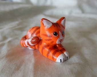 Orange tabby cat, polymer clay, OOAK