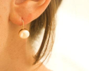 Pearl Earrings - 14K Gold Drop Pearl Earrings - Pearl Earrings - White Pearl Earrings - Wedding Earrings - Bridal Earrings - Wedding Jewelry