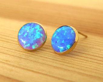 blue Opal Earrings, Real Gold Earrings, blue Opal Stud Earrings, Stud Earrings, 14k Gold Earrings, Opal Studs, Gold Studs, Opal Jewelry