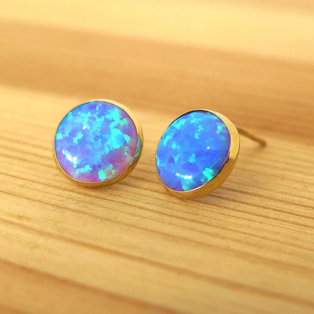 blue opal earrings real gold earrings blue opal stud. Black Bedroom Furniture Sets. Home Design Ideas