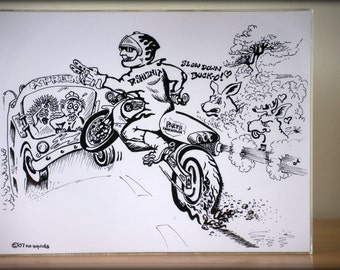 D.Shiznit original motorcycle pen and paper drawing