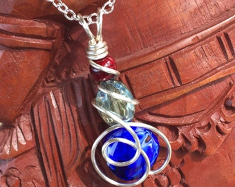 Glass and quartzite, wire wrapped pendant necklace