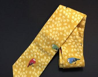 Bird Tie - Leaf Tie - Parakeet Tie - Nature Tie - Men's Tie - Gold Tie