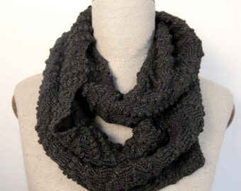 lace knit scarf, lacy knitted scarf, knit infinity scarf, lace knit shawl, charcoal grey gray cashmere merino, gift for her