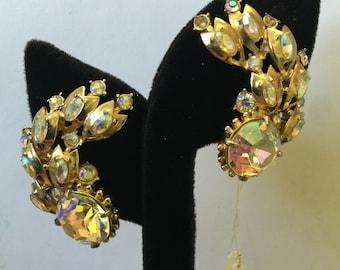 Vintage Crystal Designer pink and irredescent stone earrings, Vintage Crystal Earrings