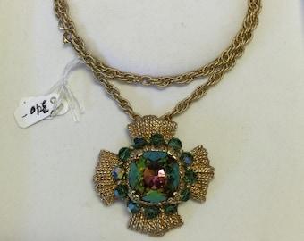 Vintage Napier Colorful Pendant with Gold Necklace, Vintage Necklace, Napier Jewlery, Colorful Vintage Necklace