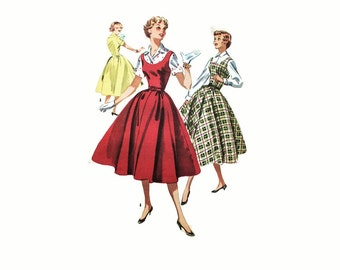 1950s Vintage Sewing Pattern - Mccalls 3357 - Day Dress Full Skirt Blouse