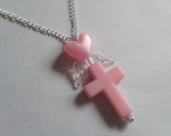 Cute Pink Necklace with a Pink Heart, Cross and Clear Wings. Kawaii. Sweet Lolita. Fairy kei. Pastel. Brand New. Handmade.