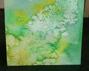 Water colour greeting card, Green & yellow, hand painted card, abstract water colour, art birthday card, unusual birthday card