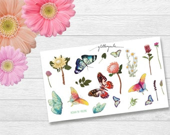 Butterfly and flowers watercolor planner stickers