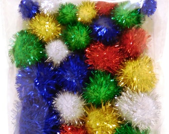 Glitter Pom Poms Pack assorted colours and sizes 30