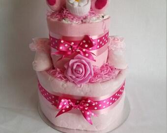 3 Tier Nappy cakes - Baby Girl
