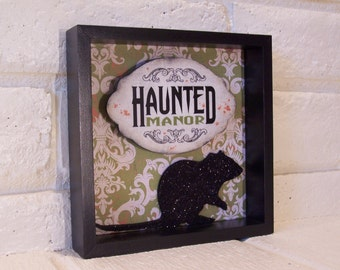 Haunted Manor Halloween Shadow Box, Haunted Halloween Decor, Halloween Decor, Haunted Halloween Sign, Halloween Decoration, Holiday Decor