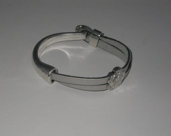 Leather strap silver half cane silver plate and connector flower