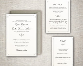 The Grace - Elegant, Classic and Traditional Wedding Invitation Set with Simple Yet Beautiful Border - DIY - Print at home Wedding Suite!