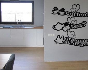 Coffe tea Kitchen vinyl wall decor Sticker Decals Design decoration DIY family Love wine words decal cheap decorative Removable