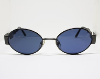 Oval sunglasses ANNABELLA thick metal frame with golden details on hinge blue lenses fixed, Deadstock