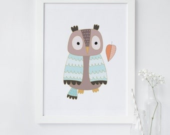 Owl wall art, printable nursery art, printable art, owl nursery print, instant download, animal art, woodland print, nursery art, owl decor