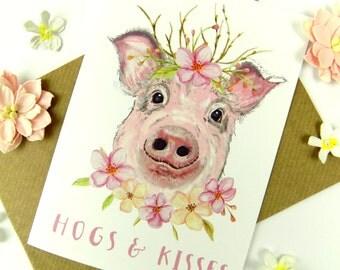 Pig Greeting Card, Cute Funny Pig Art Card