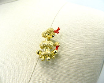 Vintage 1950s - 1960s Gold Poodle Pin...Poodle Dog Brooch...Fancy Sassy Poodle Jewelry w/ Red Bow and Tail...Poodle Accessory