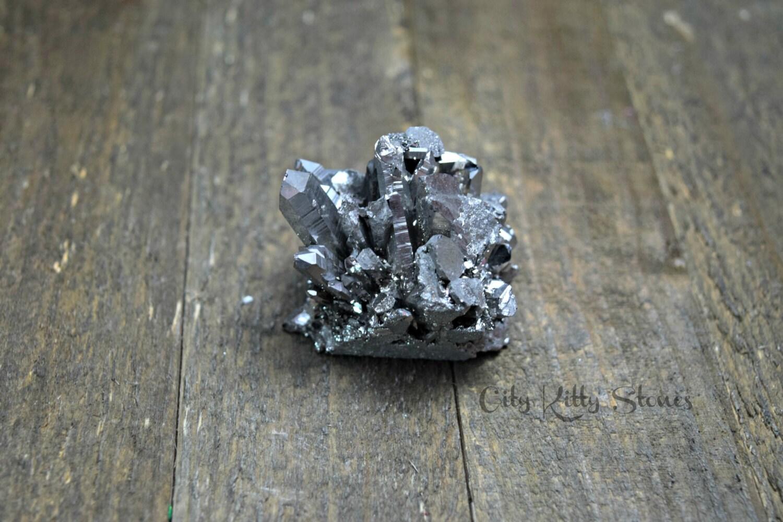 Silver Crystal Cluster Aura Quartz Electroplated Druzy Stone
