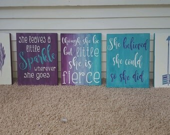 Set of 5 girl's wall decor