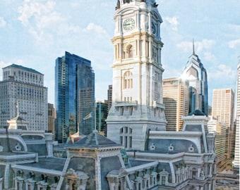 Philadelphia, City Hall,  Skyline,  Fine Art Print,  Matted Print, Urban Art, Philadelphia Art, Cityscape