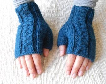 Handmade petrol blue gloves, woll gloves, Women gloves, Winter gloves, knitted gloves, fingerless gloves