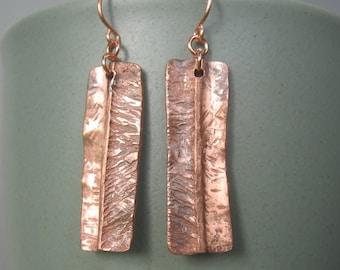 Open book copper folded textured earrings