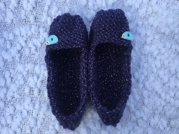 Hedgehog Slippers Knitting Pattern : Items similar to Hedgehog Slippers, Knitted Slippers ...