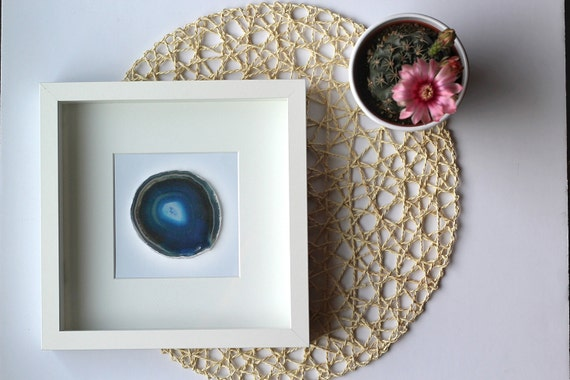Framed Agate Slice Geode Home Decor BLACK Or WHITE Shadow Box
