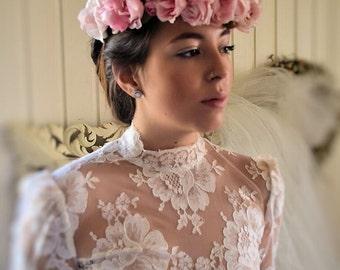 Couronne de mariée, de mariage, couronne de fleurs, boheme, roses en soie faites main