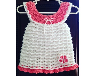 Instant download - Crochet PATTERN (pdf file) – Crocheted Baby Ruffle Dress - 4 sizes included - Free flower pattern included -