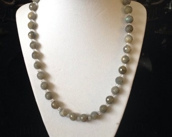 Handcrafted Labradorite and Crystal Beaded Necklace
