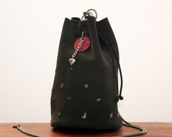 Jewel-bag XS in black leather and silver pendants Jewelbag # 027
