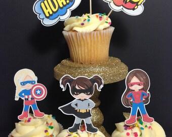 Girl Superhero Cupcake Toppers (Superhero Birthday Party)