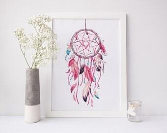 Dreamcatcher Print - Dreamcatcher Wall Art - Watercolor Dreamcatcher Painting - Dream Catcher Printable - Tribal Print - Boho Decor