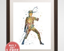NarutoPrint watercolor, home arts, decor, cartoon kids children Illustration, Gift, Anime Poster YC288