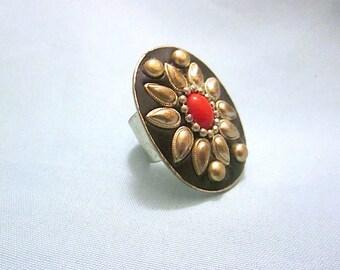 HOLIDAY SALE! Large Vintage Ethnic/Boho/Tibetan Adjustable Ring Floral Motif with Red Cabochon Center
