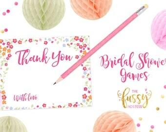 Thank You Bridal Shower Cards, Wedding Cards, Wedding Notes, Bridal Shower Notes, DIY Printable, Instant Download, Printable Shower Cards